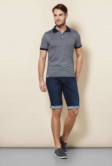 celio* Navy Pin Striped Polo T-Shirt