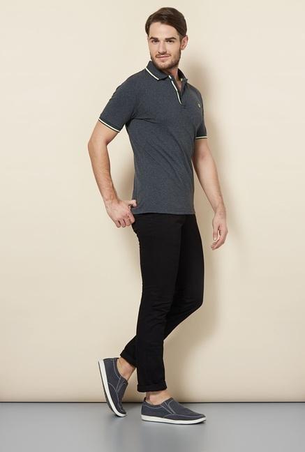 celio* Grey Solid Polo T-Shirt