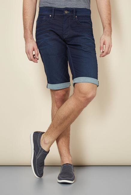 celio* Blue Solid Denim Shorts