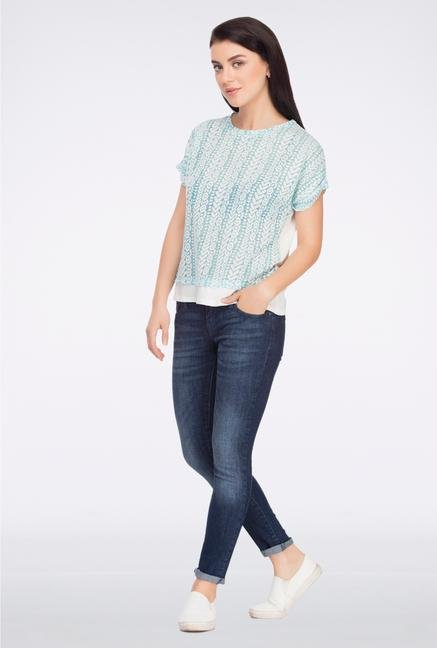 Femella Turquoise Front Lace Top