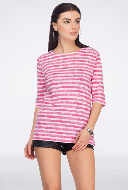 Femella Pink Striped Back Bow Top