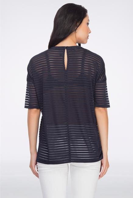 Femella Navy Sheer Striped Top