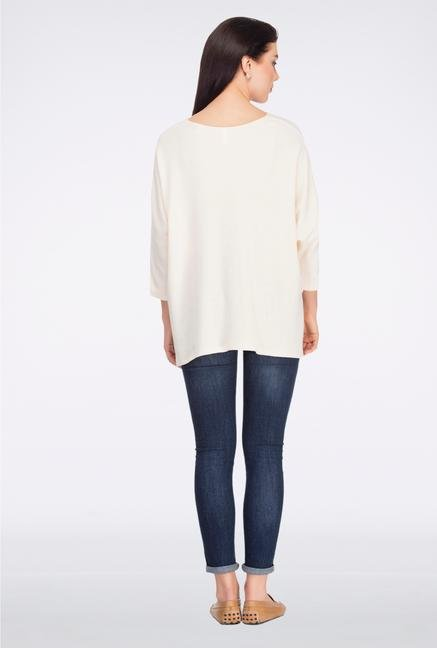 Femella Off White V Neck Jersey Top