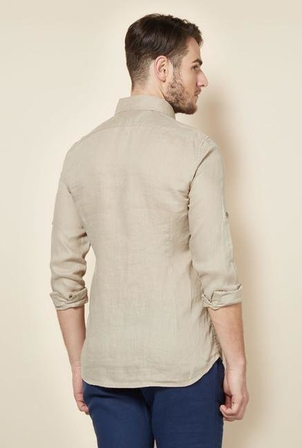 celio* Beige Solid Casual Shirt