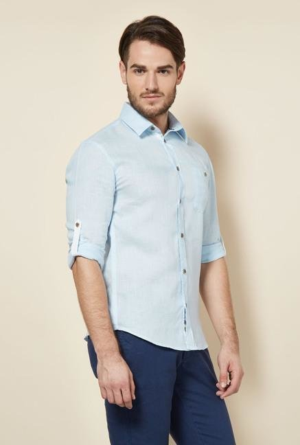 celio* Blue Solid Slim Fit Casual Shirt