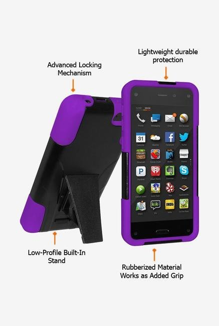 Amzer Dual Layer Case Black & Purple for Amazon Fire Phone