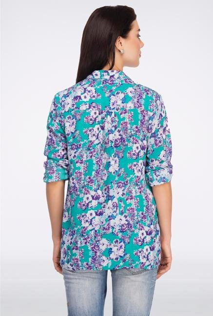 Femella Green & Purple Floral Printed Casual Shirt