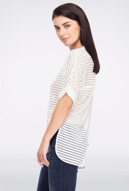 Femella White Striped Back Slit Boxy Top