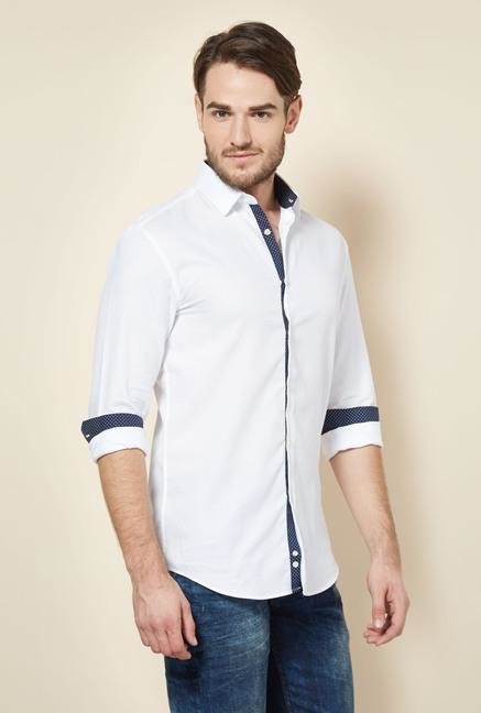 celio* White Solid Slim Fit Casual Shirt