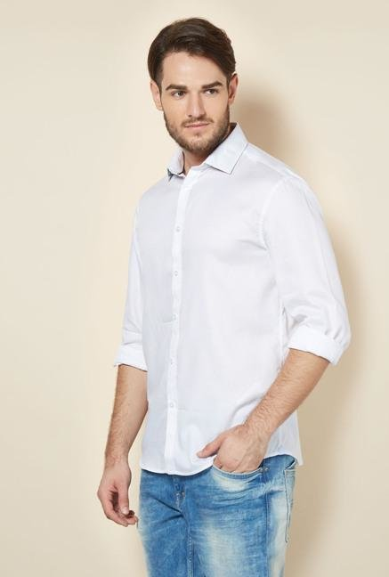 celio* White Solid Regular Fit Casual Shirt