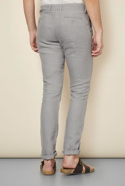 celio* Grey Solid Chinos