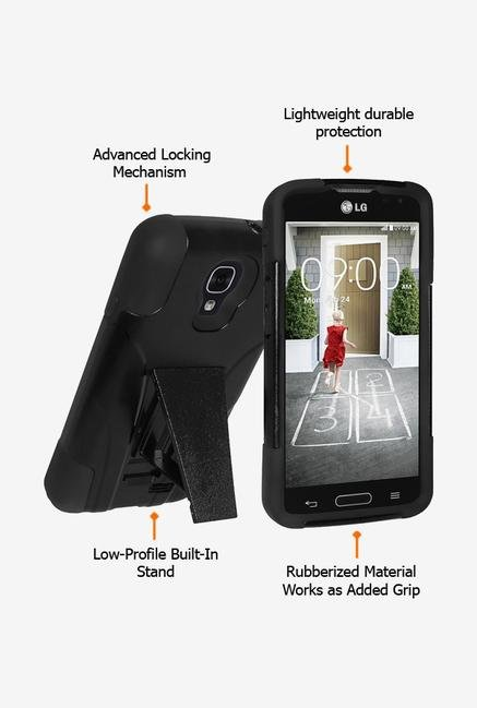 Amzer Dual Layer Hybrid KickStand Case Black for LG F70