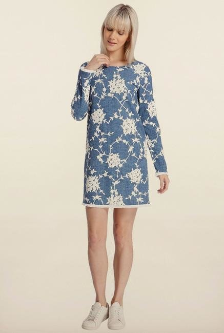 Vero Moda Blue Printed Casual Dress