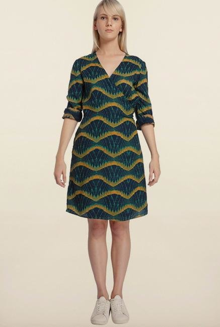 Vero Moda Navy And Yellow Printed Casual Dress