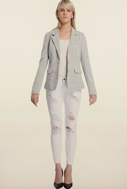 Vero Moda Light Grey Solid Cotton Blazer