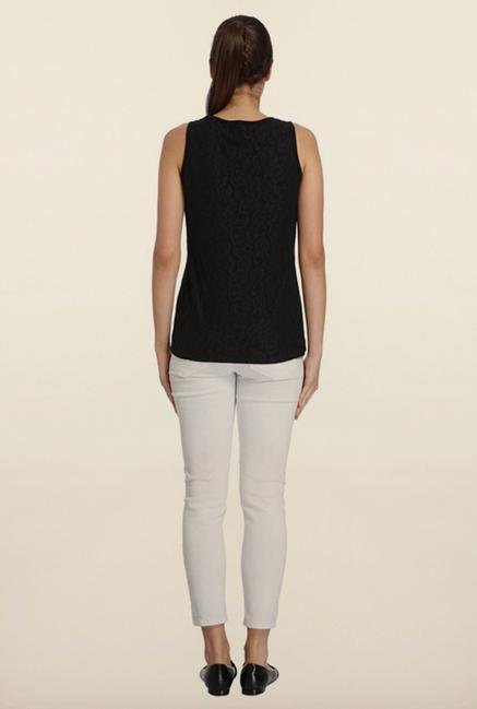 Vero Moda Black Lace Print Top