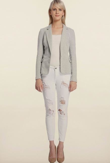 Vero Moda Light Grey Solid Blazer