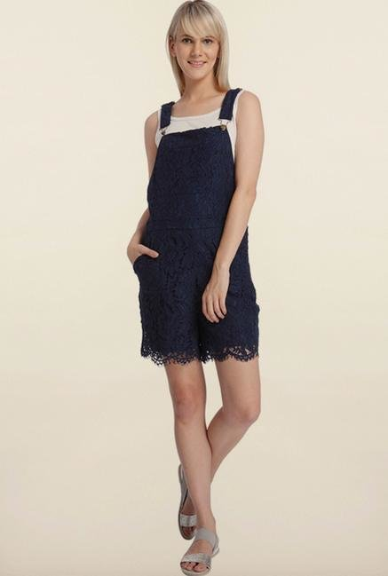 Vero Moda Navy Blue Lace Dungaree