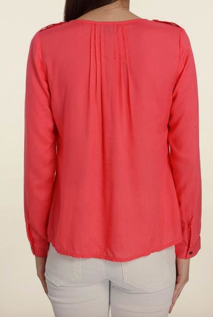 Vero Moda Rouge Pink Solid Casual Shirt