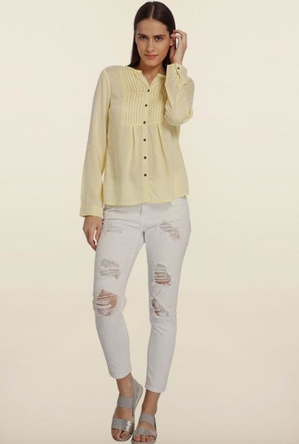 Vero Moda Yellow Solid Casual Shirt