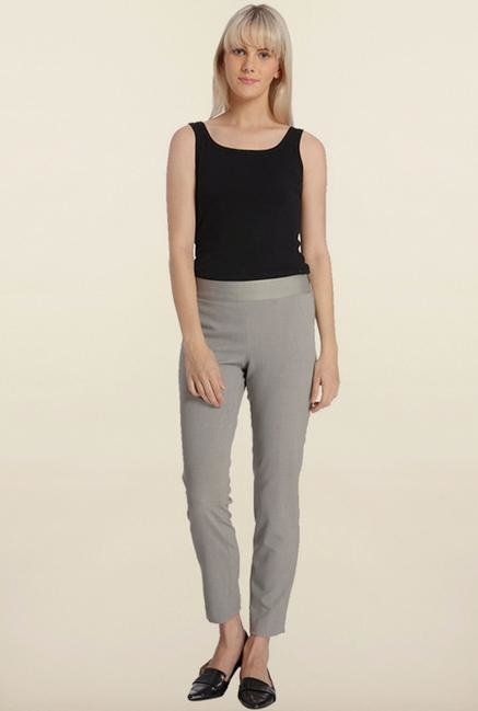 Vero Moda Light Grey Solid Leggings