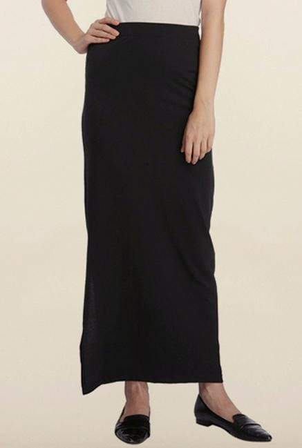 Vero Moda Black Solid Maxi Skirt