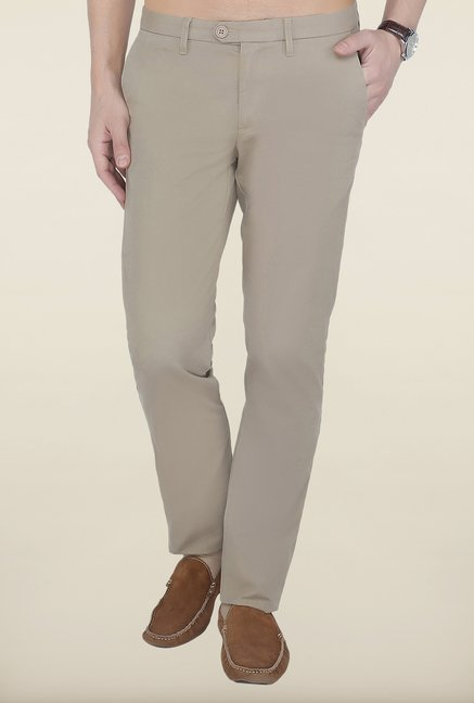 Cottonworld Khaki Solid Cotton Trouser