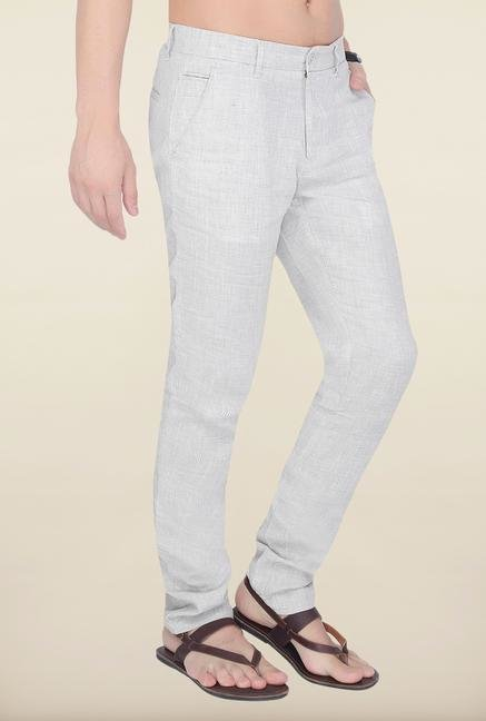 Cottonworld Light Grey Checks Linen Trouser