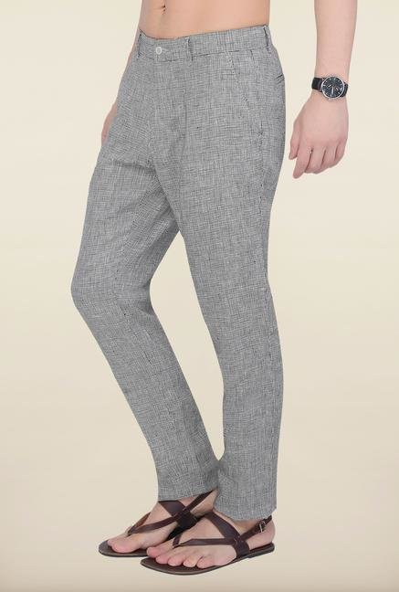 Cottonworld Dark Grey Checks Linen Trouser