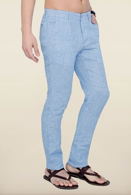 Cottonworld Light Blue Checks Linen Trouser