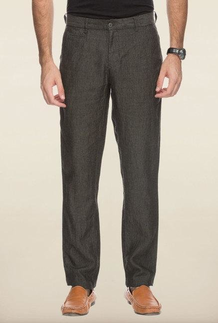 Cottonworld Black Solid Linen Trouser