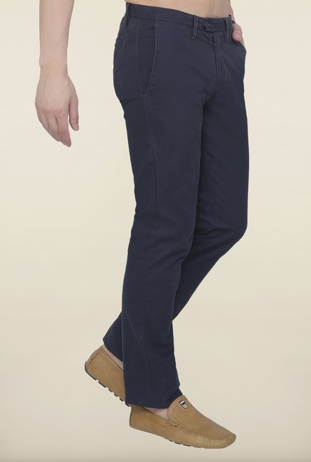 Cottonworld Navy Solid Cotton Trouser