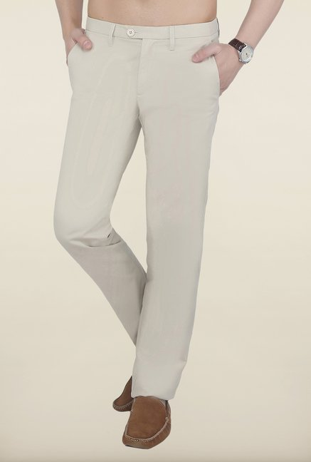 Cottonworld Sand Solid Cotton Trouser