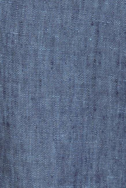 Cottonworld Blue Solid Linen Trouser