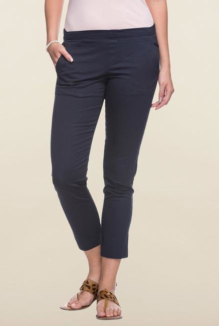 Cottonworld Navy Solid Pant