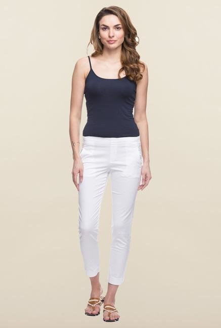 Cottonworld White Solid Cotton Pant