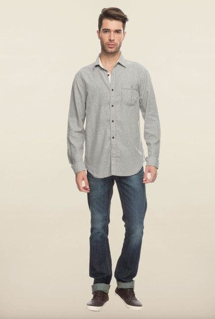 Cottonworld Grey Solid Cotton Casual Shirt