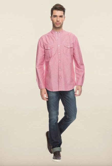 Cottonworld Pink Solid Cotton Casual Shirt