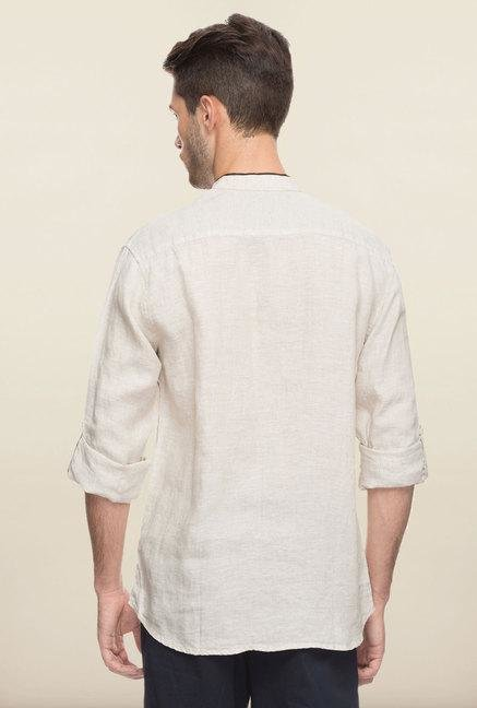 Cottonworld Beige Solid Linen Casual Shirt