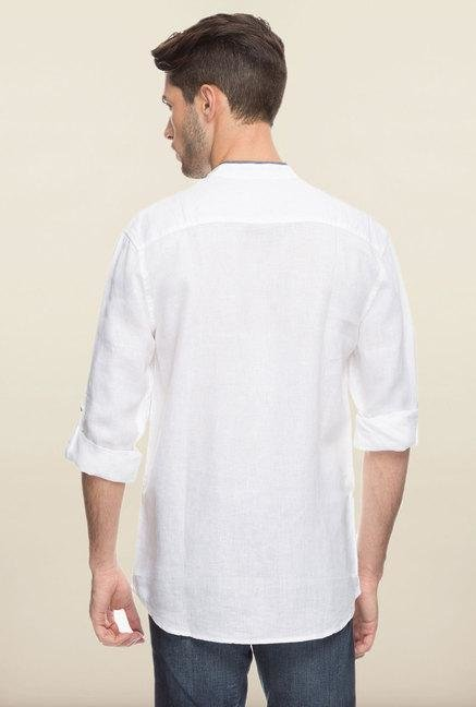 Cottonworld White Solid Linen Casual Shirt