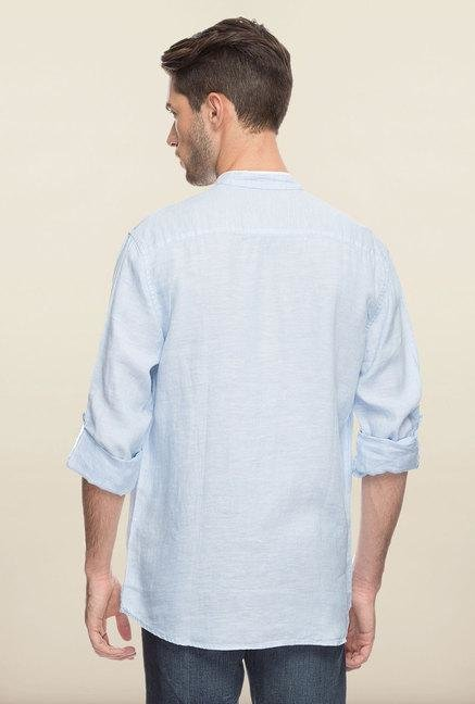 Cottonworld Sky Blue Solid Linen Casual Shirt