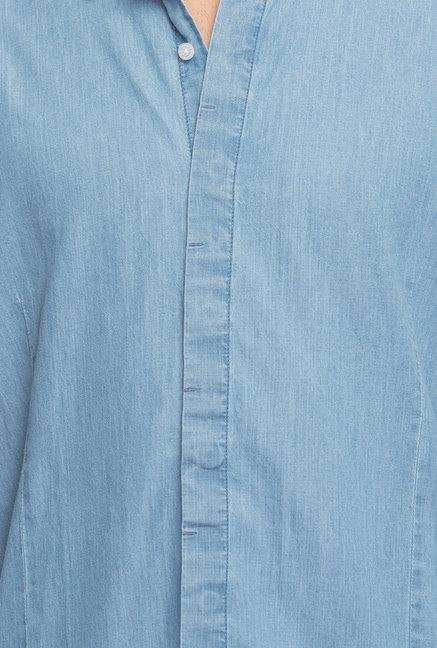 Cottonworld Denim Blue Solid Denim Casual Shirt