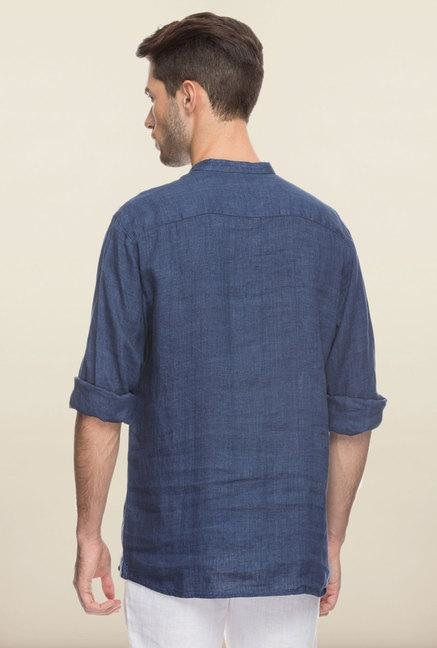 Cottonworld Indigo Solid Linen Shirt