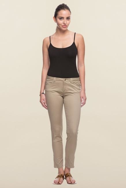 Cottonworld Dark Beige Solid Pant