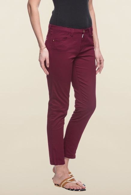Cottonworld Maroon Solid Cotton Pant