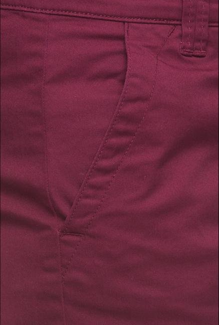 Cottonworld Maroon Solid Shorts