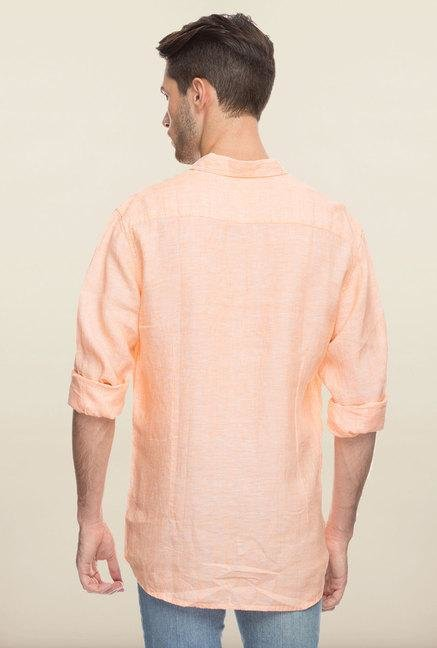 Cottonworld Orange Solid Linen Casual Shirt