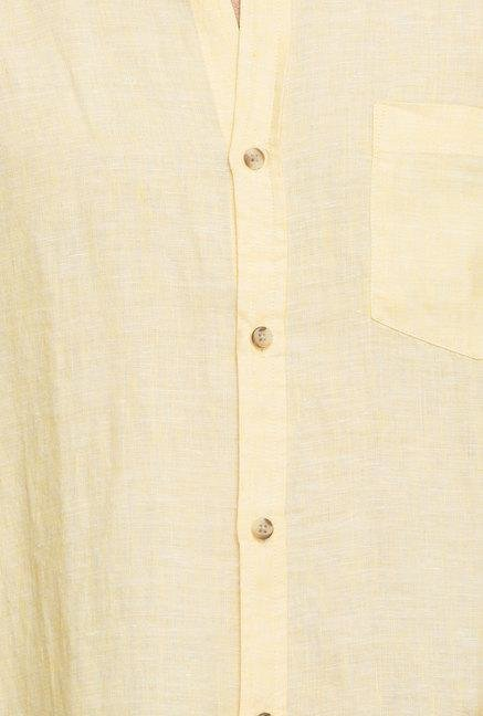 Cottonworld Yellow Solid Linen Casual Shirt