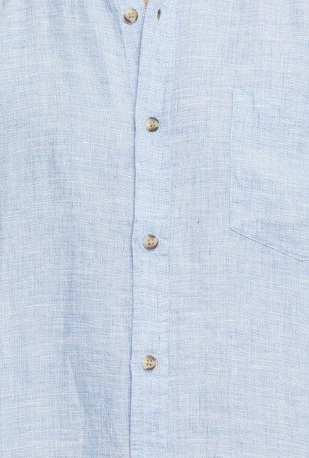 Cottonworld Blue Solid Linen Casual Shirt
