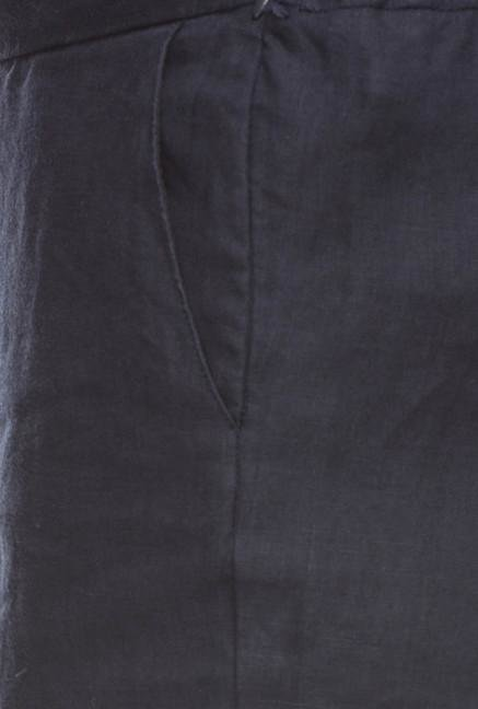 Cottonworld Navy Solid Linen Pant